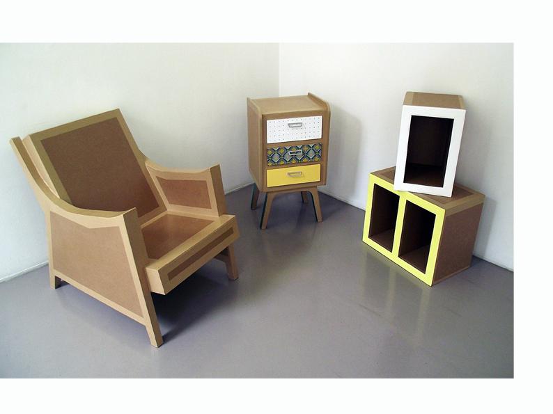 meuble en carton. création sur mesure. meuble en carton fabriqué à marseille par juliadesign.