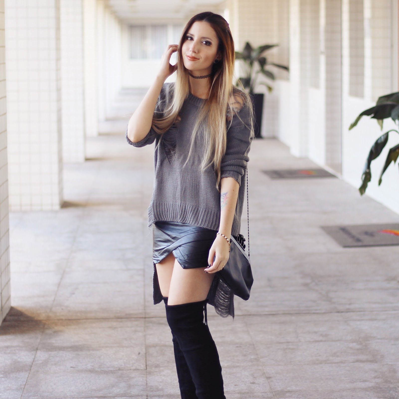 look do dia Saia assimétrica