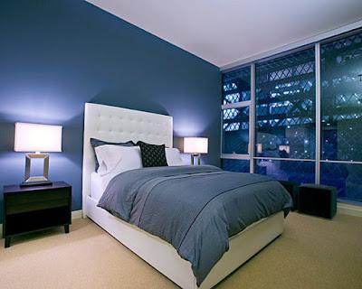 Kamar Tidur dengan warna cat nuansa biru
