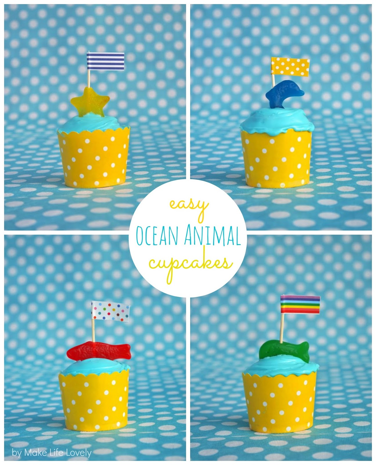 Make Life Lovely: Easy Ocean Animal Cupcakes + My Birthday Giveaway!