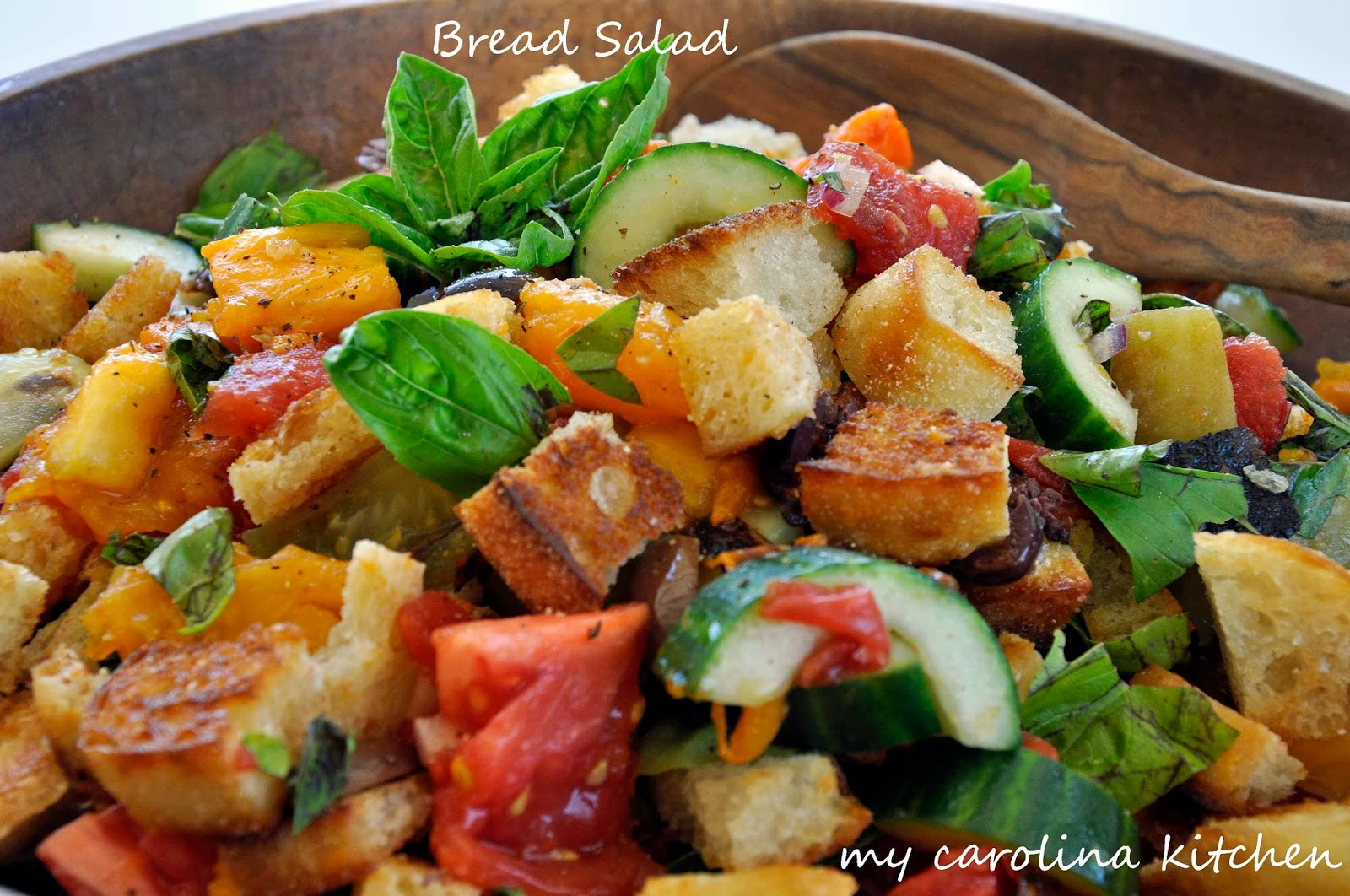 Bread Salad With Charred Tomatoes, Cucumber And Olives Recipe ...