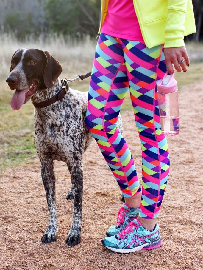 neon Fila printed fitness workout pants
