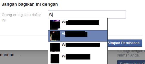ingin menyembunyikan status FB dari teman tertentu?