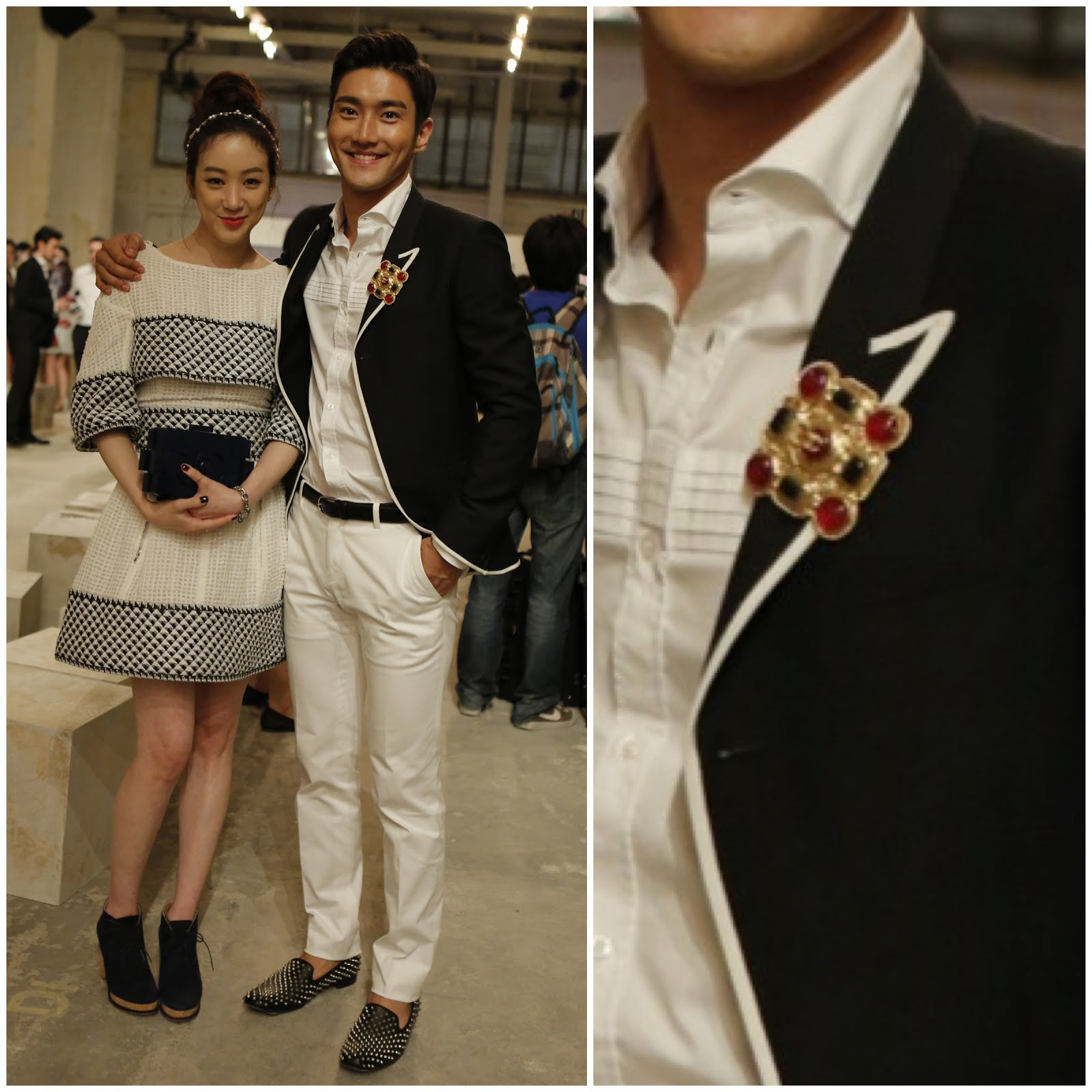 00O00 Menswear Blog http://00O00.blogspot.com : Siwon Choi [崔始源, 최시원] in Saint Laurent menswear contrast trim blazer Spring Summer 2013 - Chanel Cruise 2013/2014, Singapore May 9th 2013