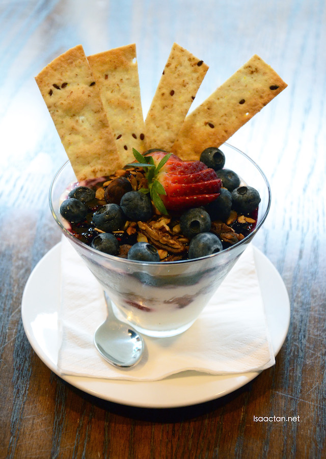 Yoghurt & Granola Parfait - with berries, compote & 6 Grains Tortilla Crostini