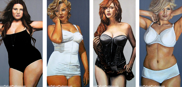 curvy beauties, beauty art, oil painting, tara lynn, marilyn monroe, christina hendricks, blonde beauty