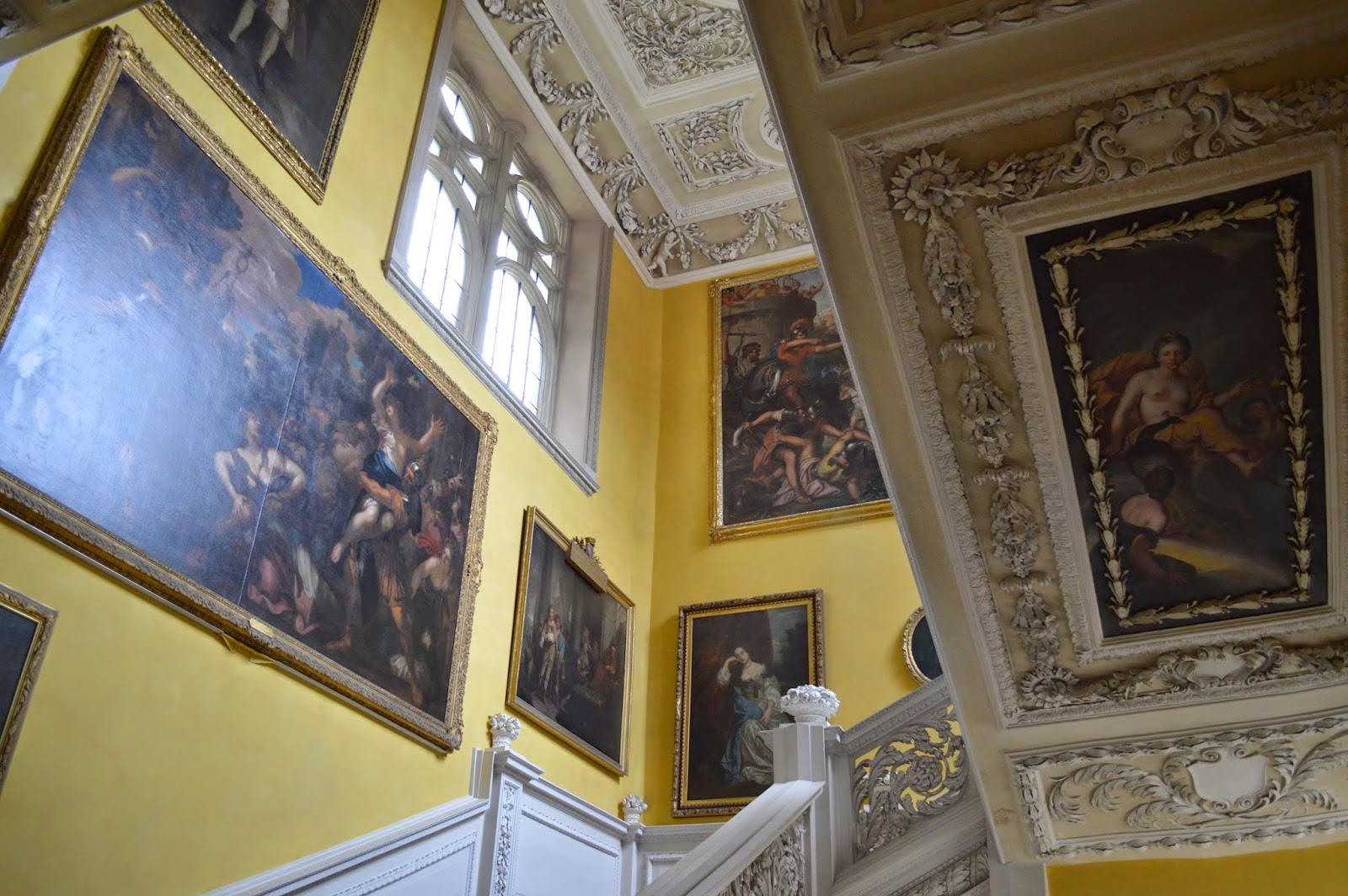 staircase, mythology, platerwork, pictures, murals,Sudbury Hall, photos, photograph, historical properties, BBC Pride and Prejudice film location, National Trust, review, derby, 17th century, inside, outside, visit