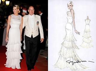 croquis do vestido de gala do baile de casamento de charlene wittstock