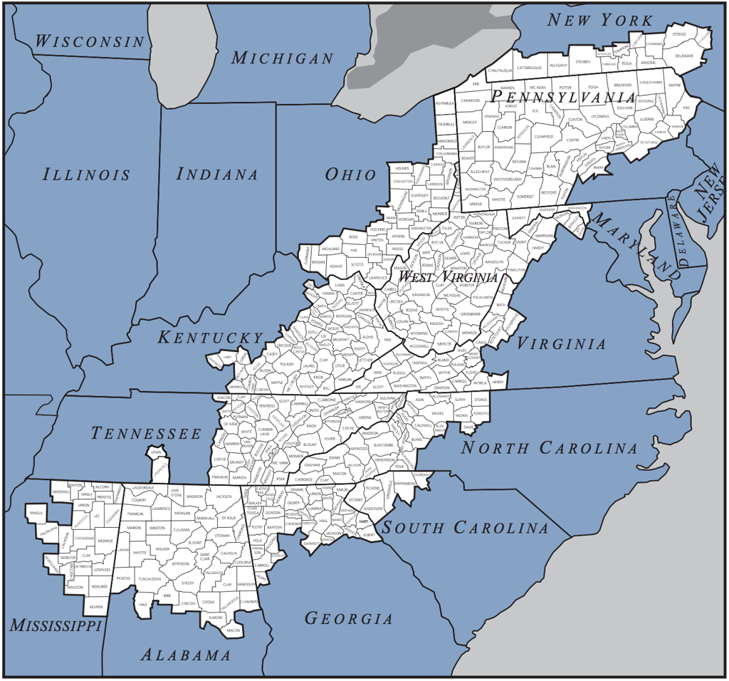 a look at the appalachia region Especially as politicians seem more than happy to invoke them in  the  appalachian region covers nearly 205,000 square miles and includes.