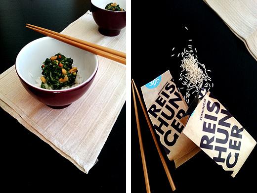 Reis Erdnuss-Spinat-Sauce mit Kokos vegan Holunderweg 18 Foodblog Blog