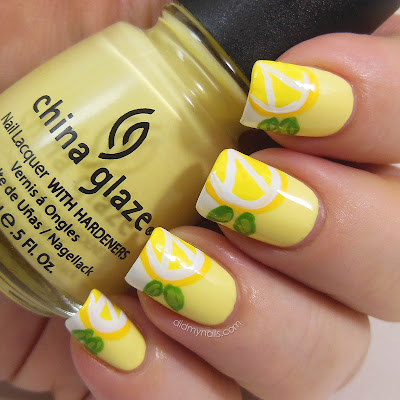 lemon nail art with China Glaze Lemon Fizz