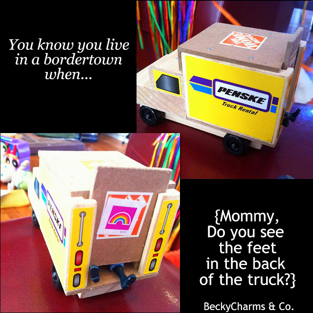 BorderTOWN LIVING in San Diego Builds Children's Imagination, 2012, San Diego, humor, funny, joke, reality, beckycharms, collage, photography, kids, make believe, imagination, playtime, 3 year olds, Tiny Baker