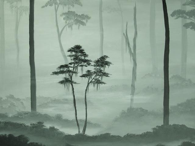 misty forest, forest painting, misty trees painting, tree fine art, forest fine art, grey forest, foggy landscape painting, fog landscape acrylic art, original acrylic painting, forest landscape painting