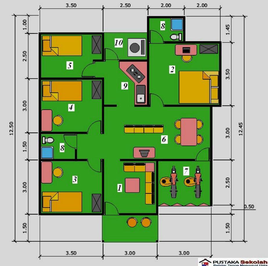 gambar denah rumah 3 kamar idaman