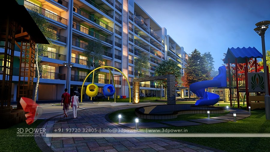 Kids Playing Area Night View Of  Township