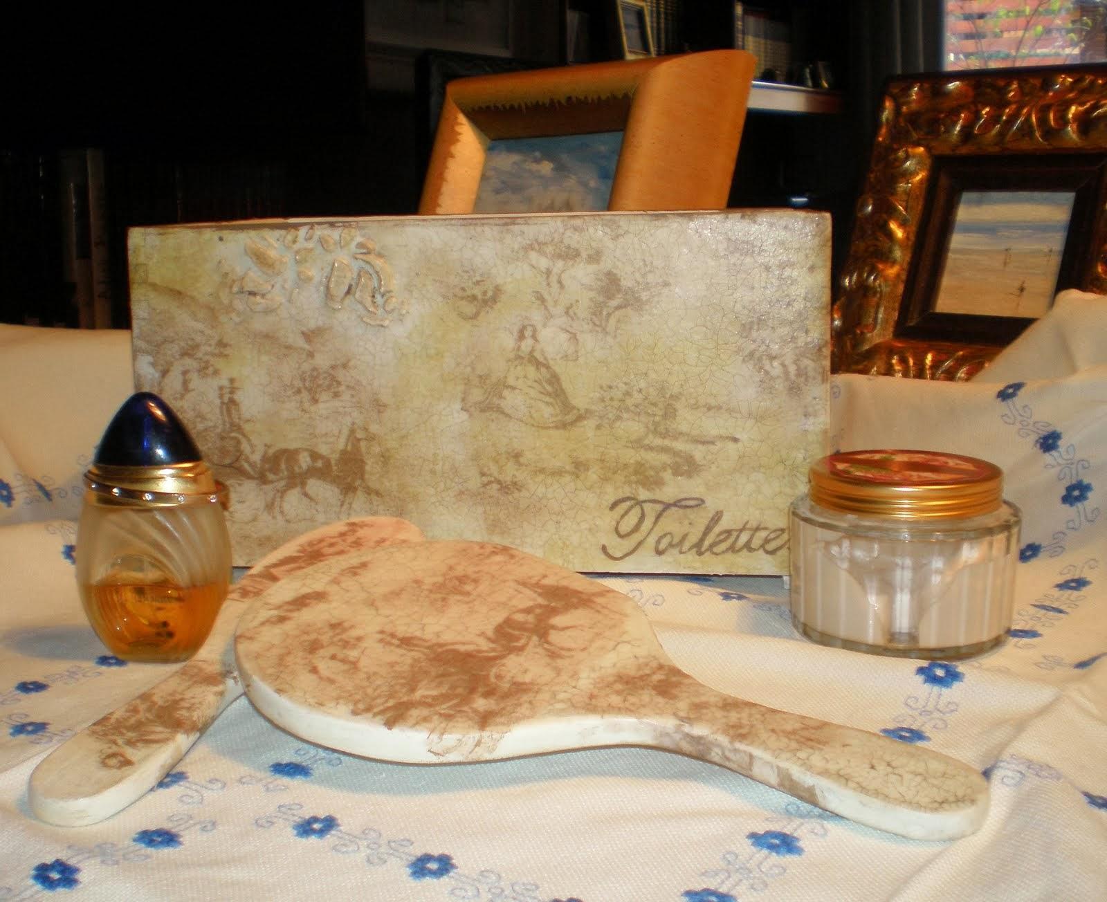 set de baño toile de jouy crema