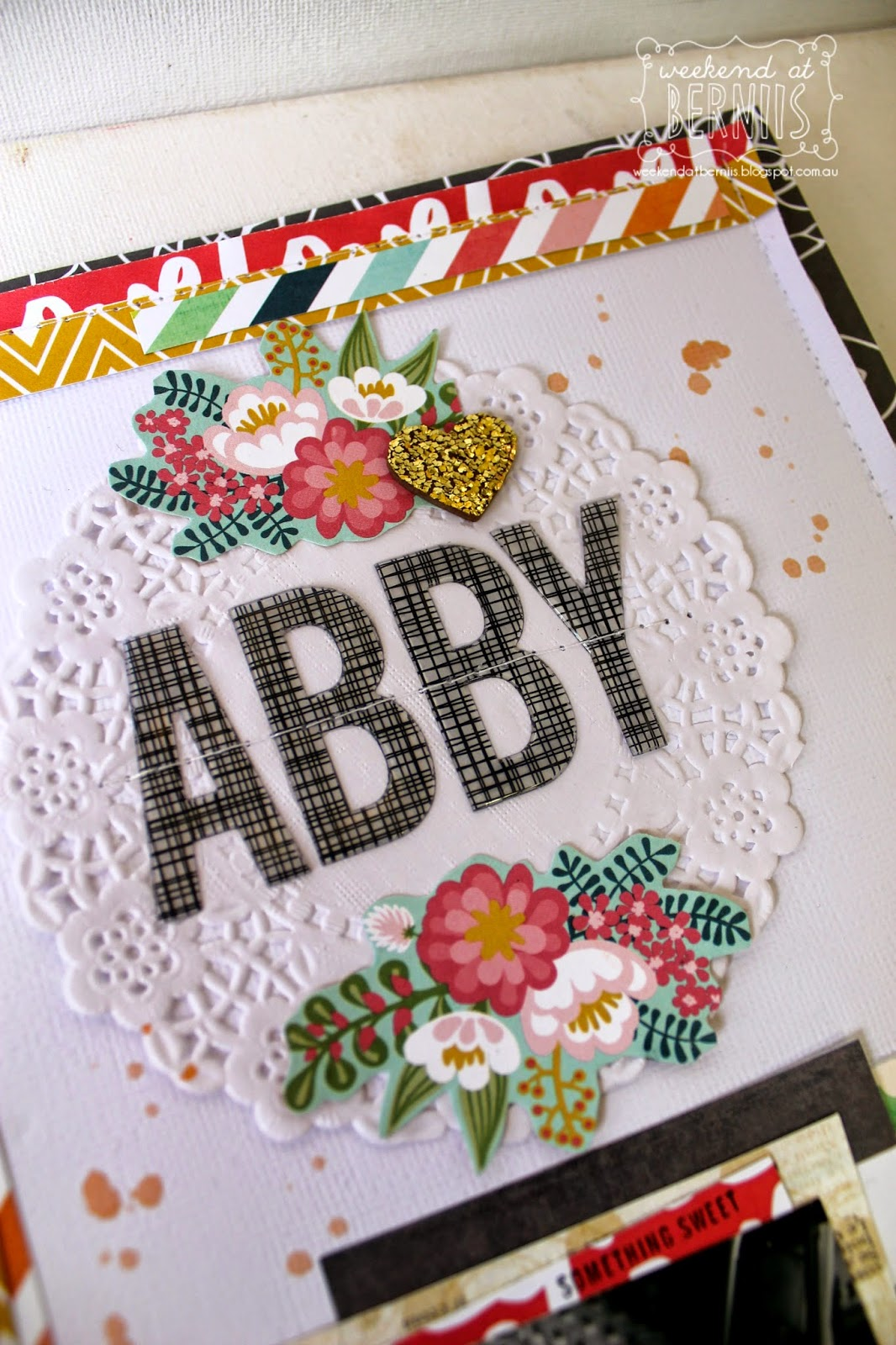 Abby layout be Bernii Miller using the Scrappy Canary kit - December - Sunshine & Lollipops.