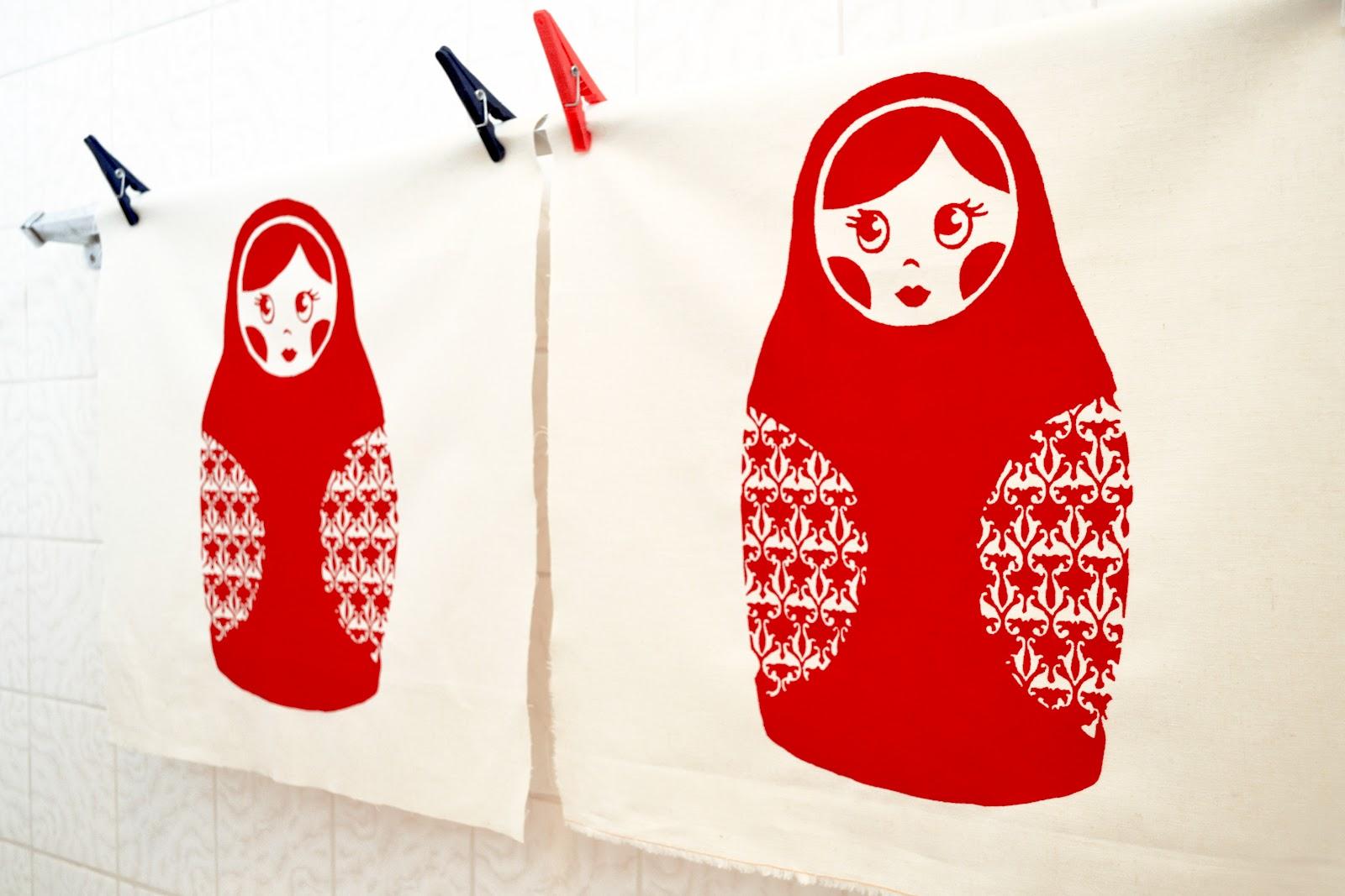 Babushka prints drying