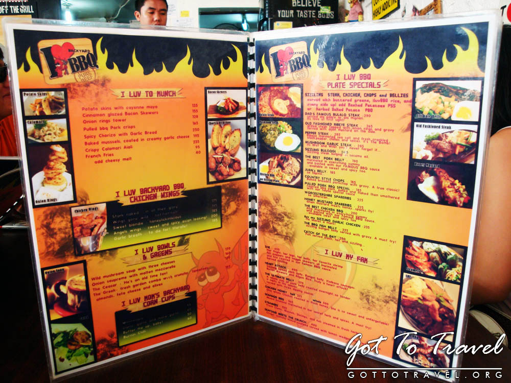I Love Backyard BBQ Menu