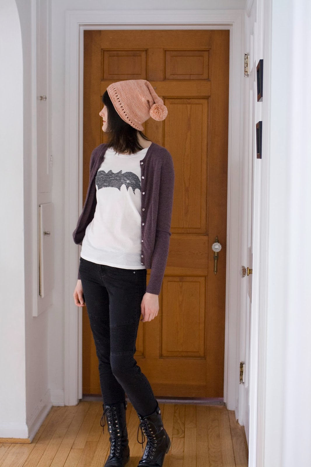 Bombasine.com: Sweater: J Crew / Shirt: cheap Chinese knockoff / Jeans: STS Blue / Boots: Rampage / Hat: handknit (design by Alexandra Tinsley)