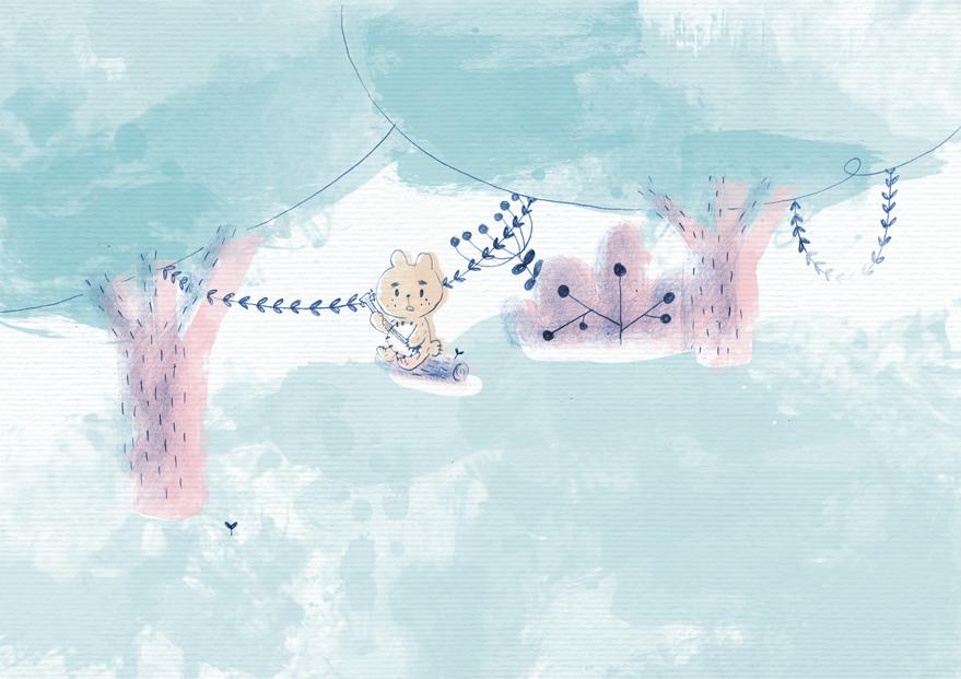 illustration, ilustración, bear, osito, cute, watercolor, tale