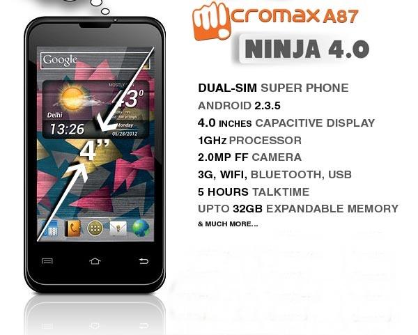 Micromax A87 Ninja 4.0 dual sim hpone