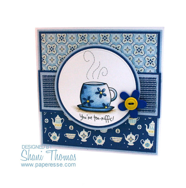 A card idea for tea lovers with DigiStamp Boutique Coffee Break digital stamp set.