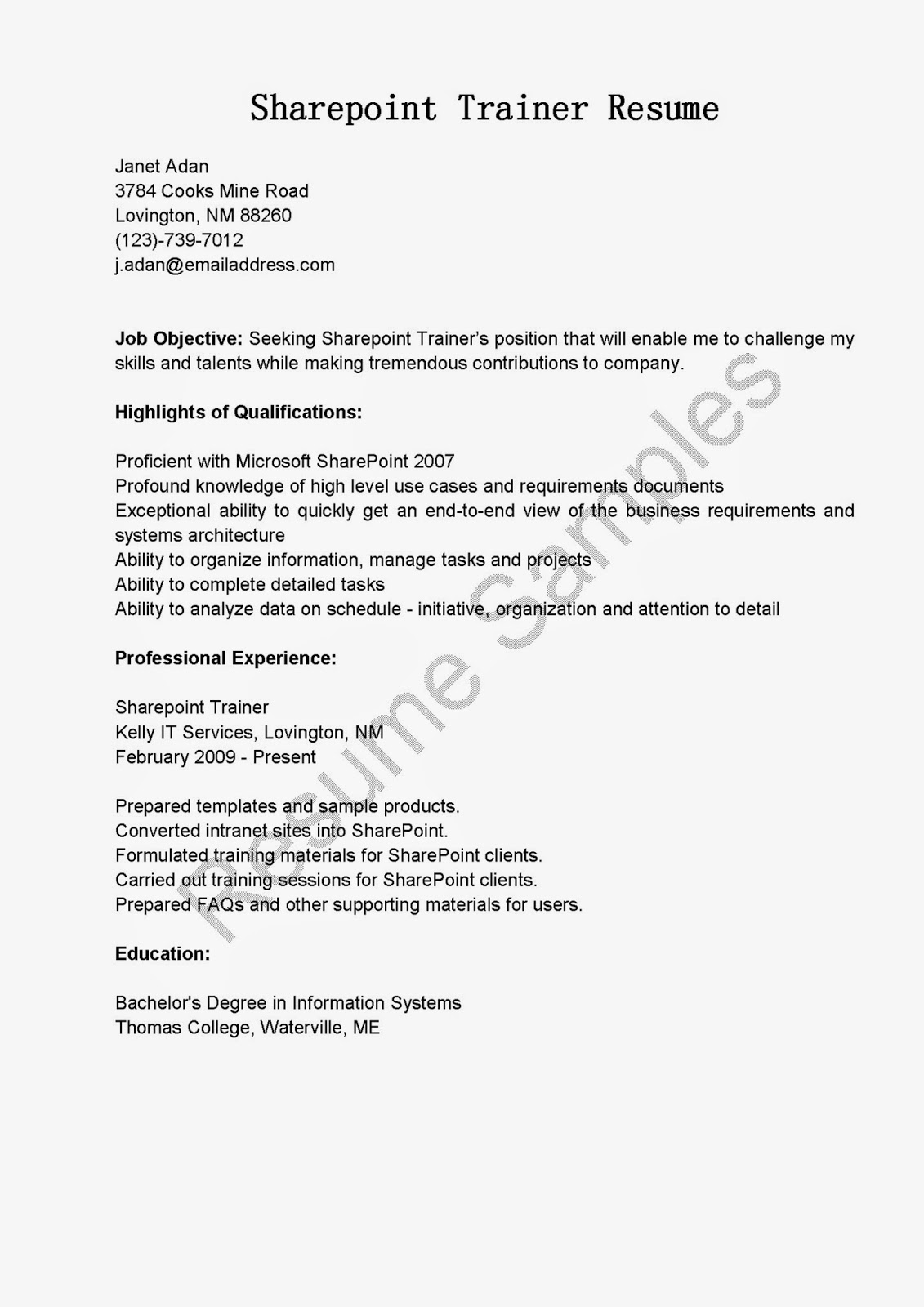 resume samples  sharepoint trainer resume sample
