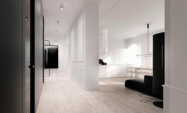 poland loft apartment black white open floor plan decor design architecture