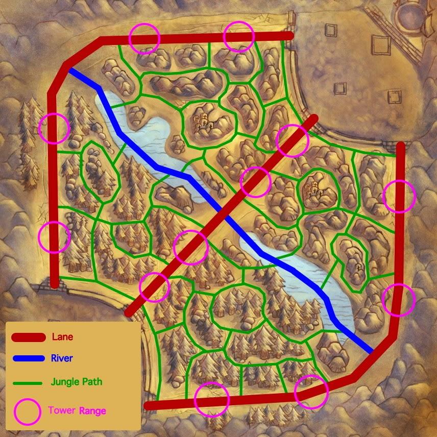 Mapa táctico de La Grieta del Invocador. Las calles están en rojo (que reciben el nombre de top, mid y bot), también están marcados los caminos a través de la jungla (en verde) y el alcance de las torretas (en rosa).