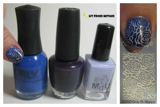 Orly Indie, OPI O Suzi Mio, MdU Lilac, and Gogo Only St. Happy stamping plate