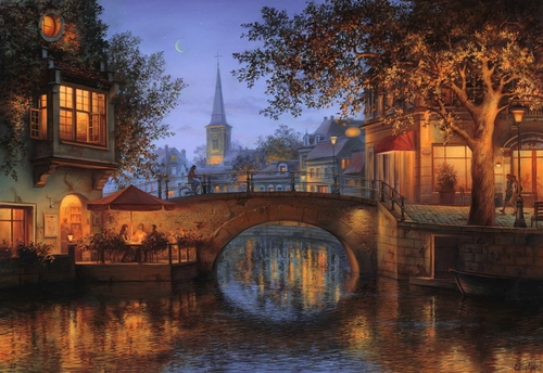 27-Twilight-Reflection-Evgeny-Lushpin-Scenes-of-Realistic-Night-Time-Paintings-www-designstack-co