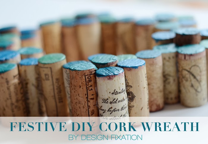 Design fixation easy diy painted cork wreath for Simple cork