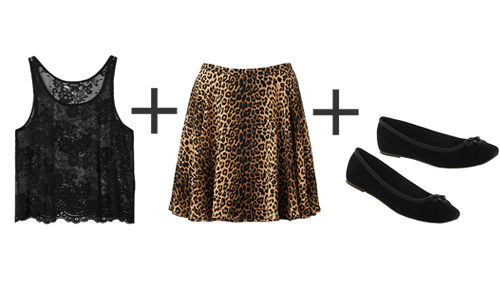 Lace top, leopard print skirt and black flats.