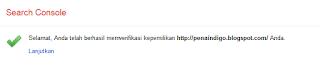 Kode Verifikasi Google webmaster tools