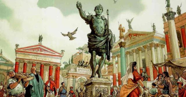 Estatua y antigua Roma