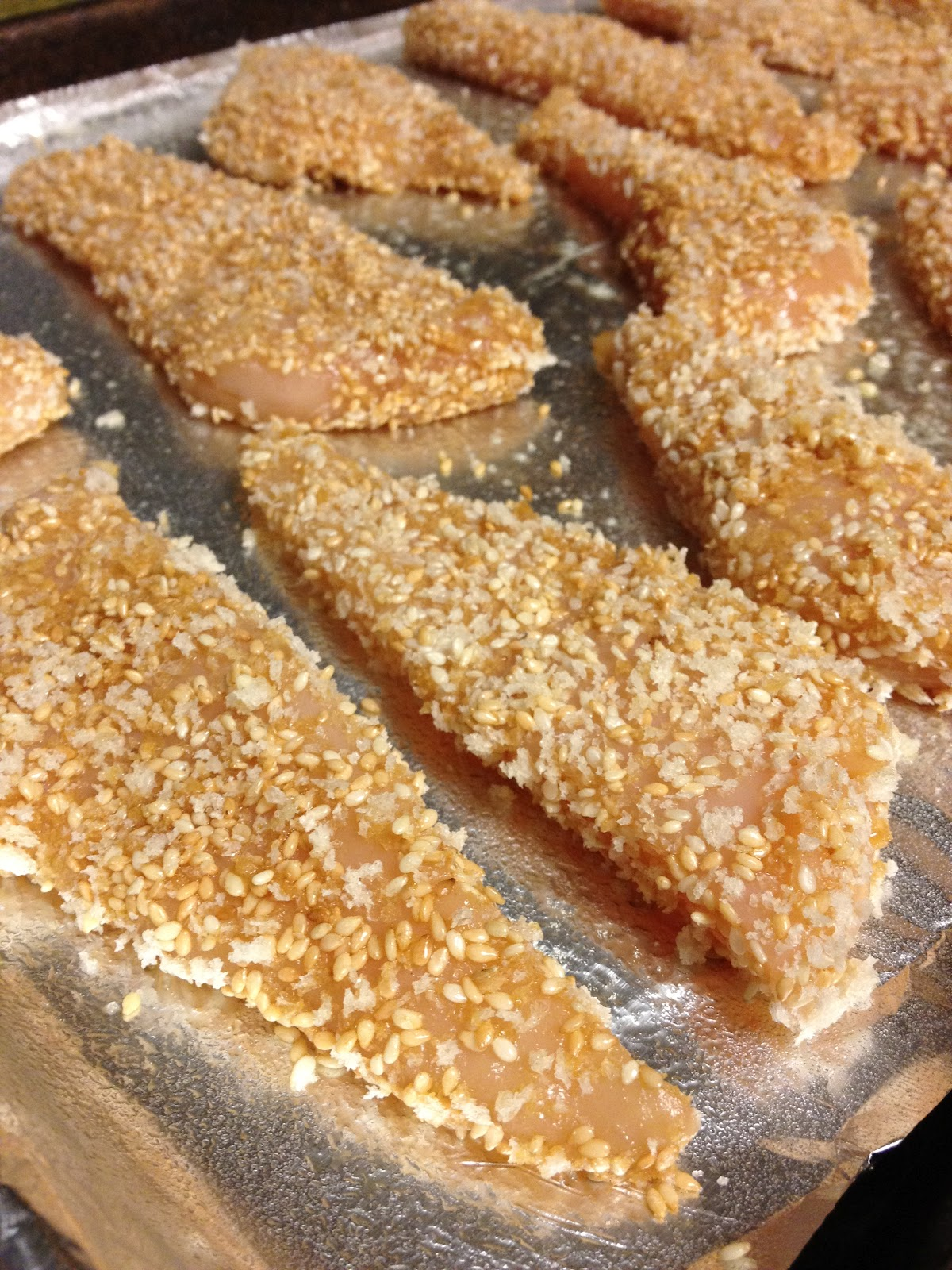 Sesame Encrusted Baked Chicken Tenders Recipe — Dishmaps