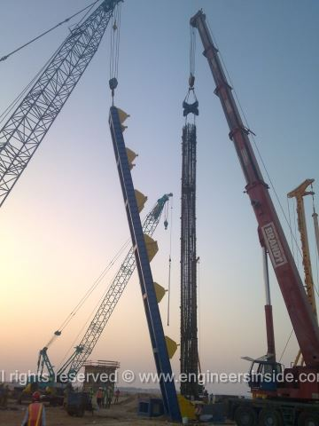 Test pile being lowered into the hole