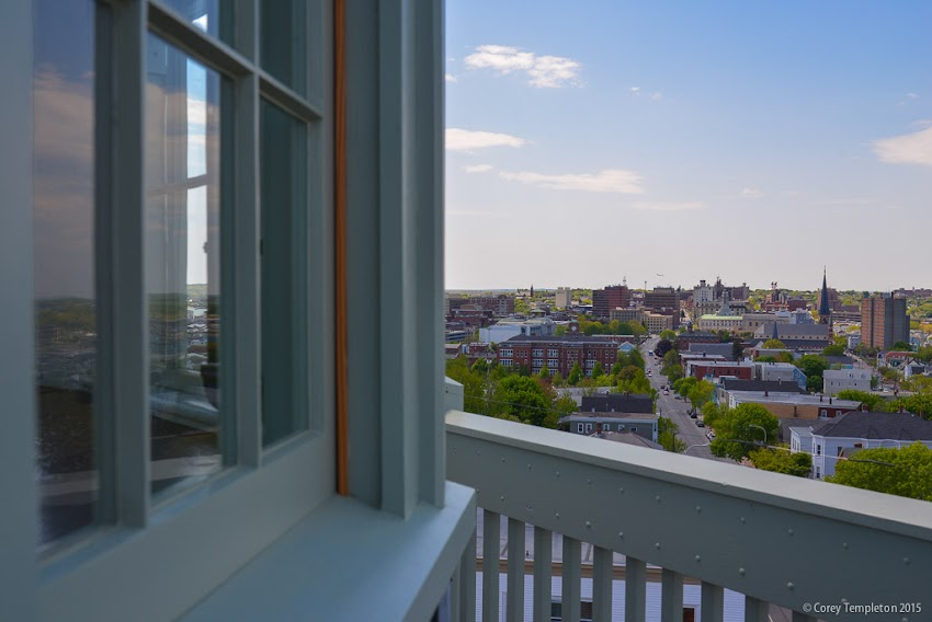 Portland Observatory Skyline view from 138 Congress Street Portland, Maine USA May 2015 photo by Corey Templeton.