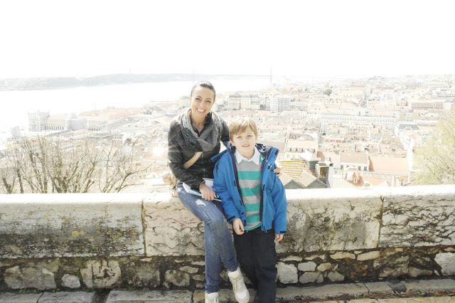 Us overlooking Lisbon from Saint George's Castle or, Castle of São Jorge