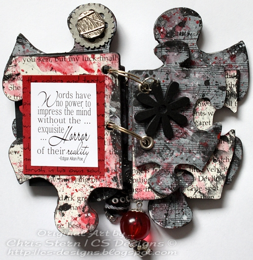 Edgar Allan Poe Altered Puzzle Piece Book pages