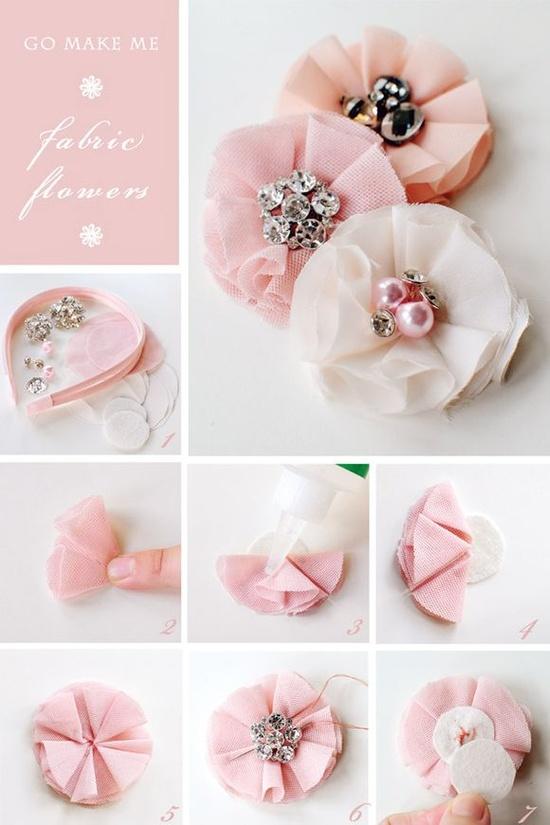 Как сделать цветочки из ткани