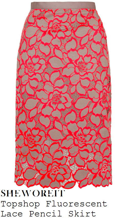 holly-willoughby-bright-pink-and-beige-oversized-floral-lace-pencil-skirt-this-morning