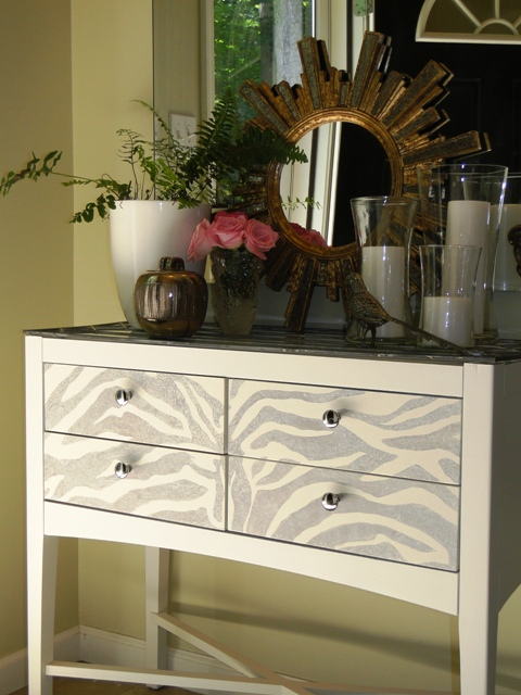 Painted Zebra-Striped Foyer Table