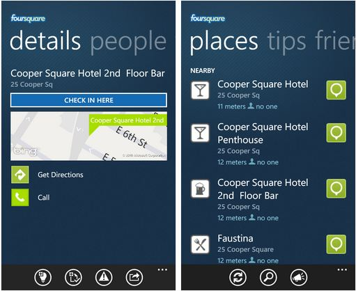 Foursquare app for Windows Phone 7