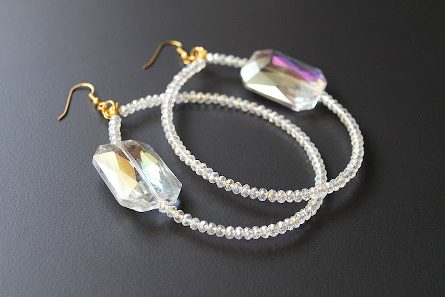 large crystal beaded hoop earrings