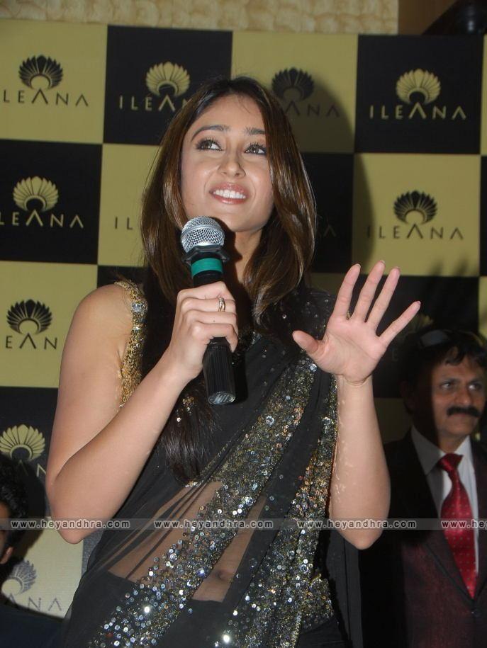 , Ileana Standing Stills in Hot Black Transparent Saree
