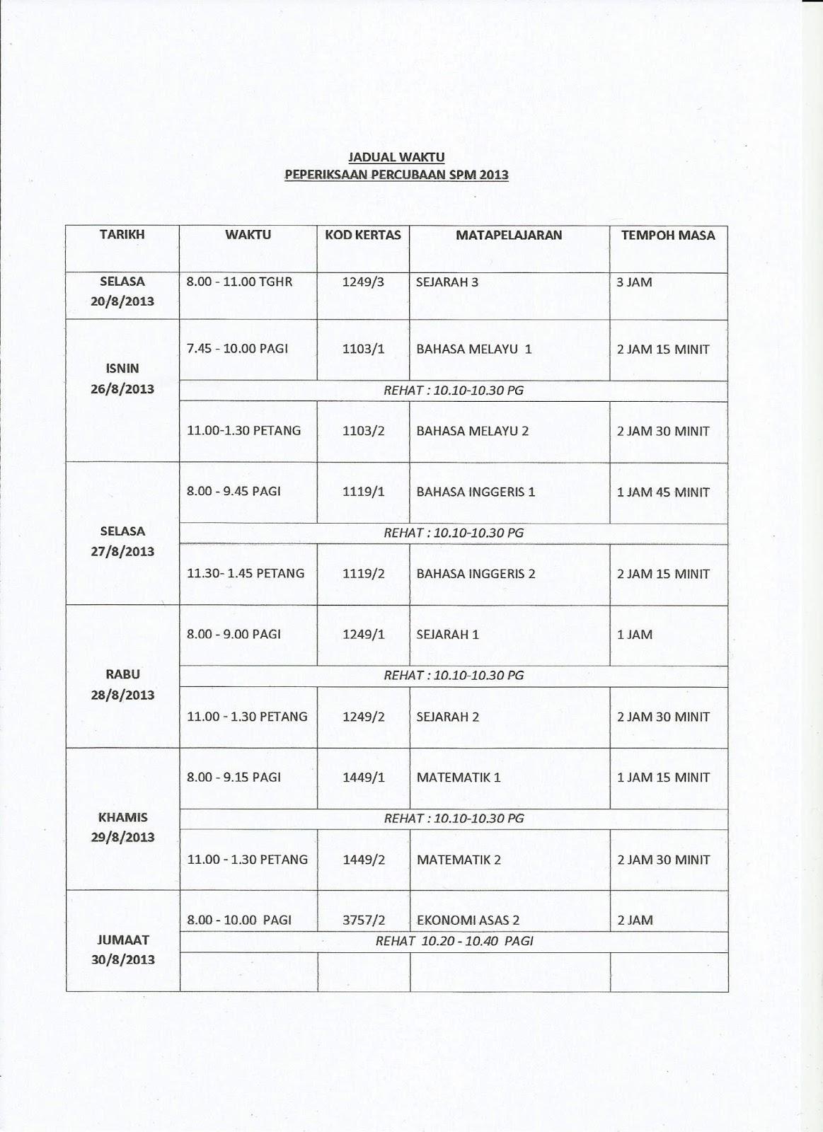 Jadual Waktu Peperiksaan Percubaan SPM 2013 SMKTDA