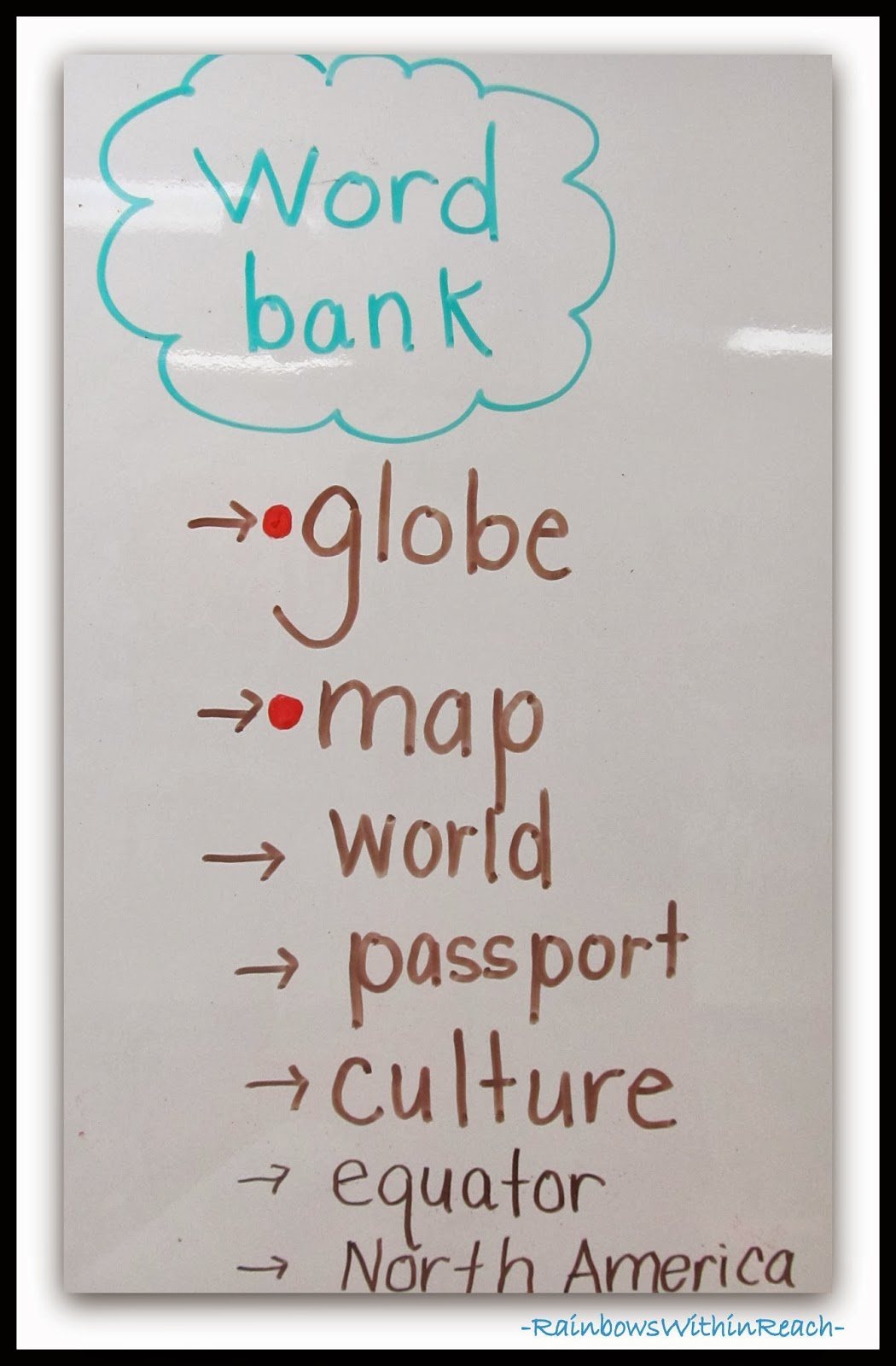 """Word Bank"" for Vocabulary Words via RainbowsWithinReach"
