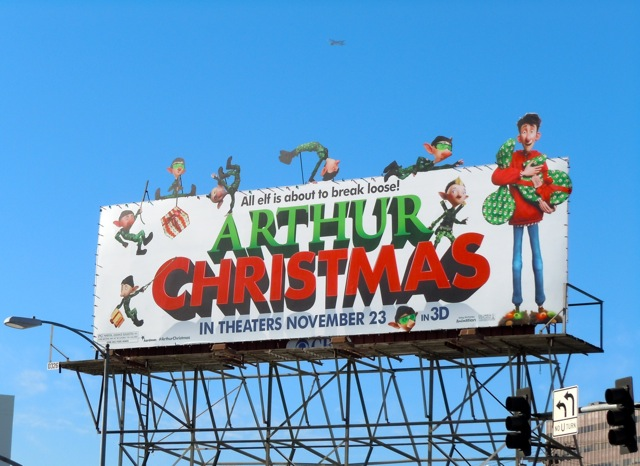 Arthur Christmas elf billboard